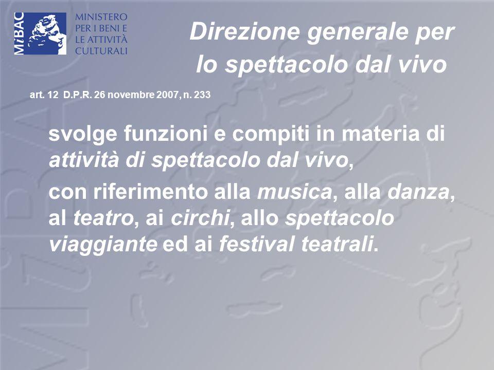 Direzione generale per lo spettacolo dal vivo art. 12 D.P.R. 26 novembre 2007, n. 233 svolge funzioni e compiti in materia di attività di spettacolo d