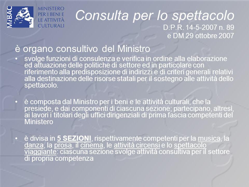 Consulta per lo spettacolo D.P.R. 14-5-2007 n. 89 e DM 29 ottobre 2007 è organo consultivo del Ministro svolge funzioni di consulenza e verifica in or