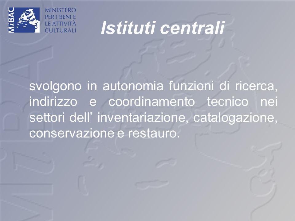 Istituti centrali svolgono in autonomia funzioni di ricerca, indirizzo e coordinamento tecnico nei settori dell inventariazione, catalogazione, conser