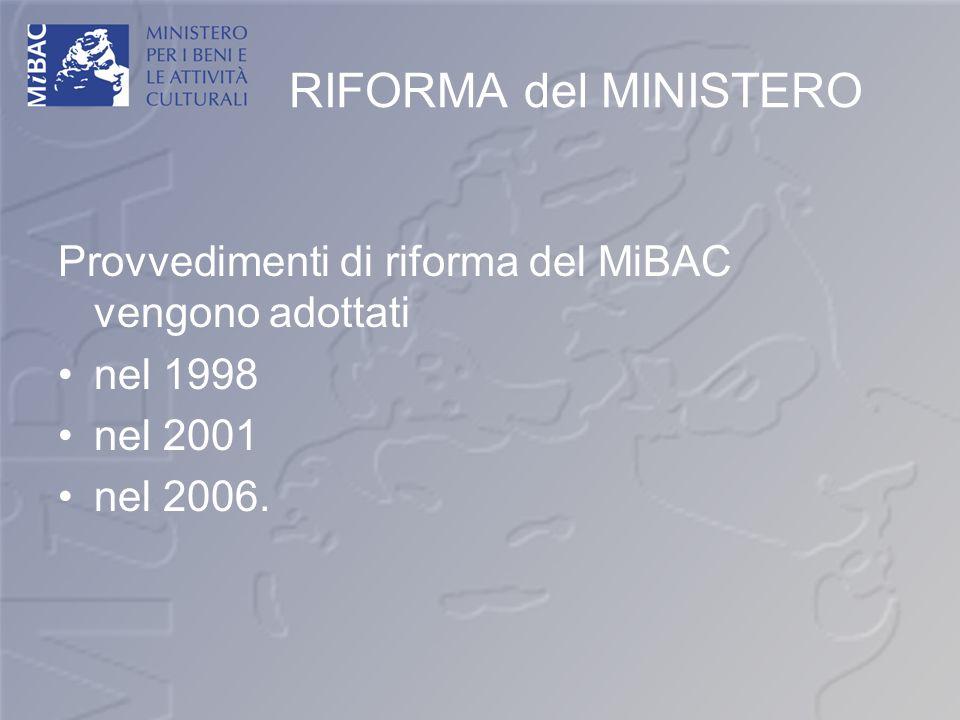 RIFORMA del MINISTERO Provvedimenti di riforma del MiBAC vengono adottati nel 1998 nel 2001 nel 2006.