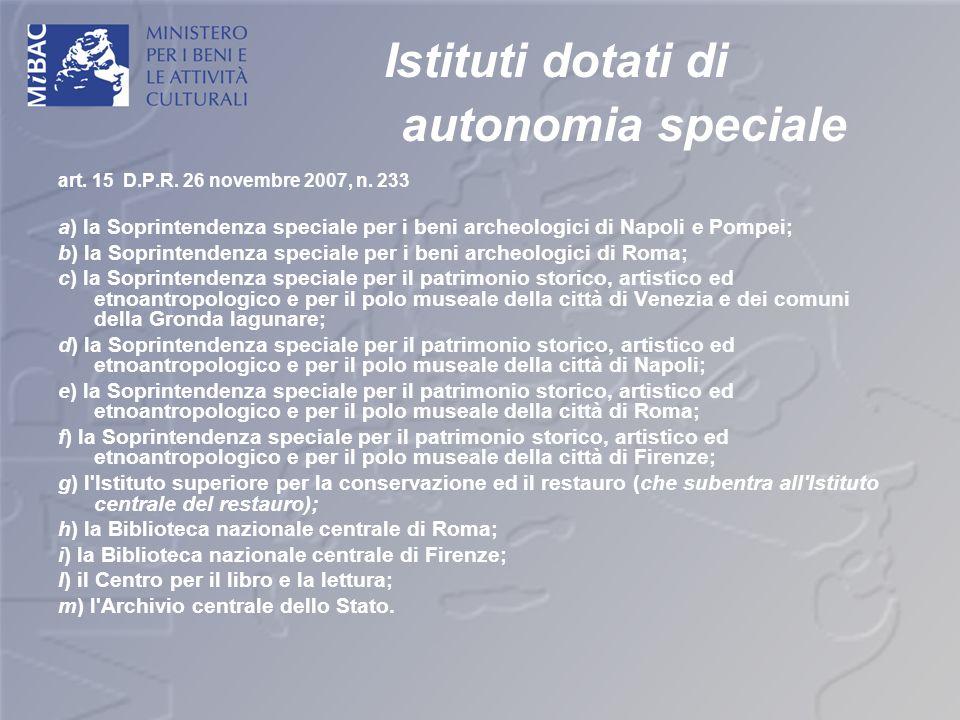 Istituti dotati di autonomia speciale art. 15 D.P.R. 26 novembre 2007, n. 233 a) la Soprintendenza speciale per i beni archeologici di Napoli e Pompei
