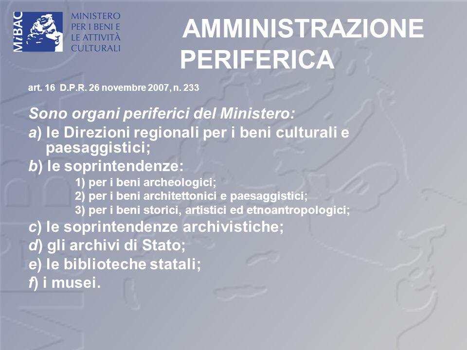 AMMINISTRAZIONE PERIFERICA art. 16 D.P.R. 26 novembre 2007, n. 233 Sono organi periferici del Ministero: a) le Direzioni regionali per i beni cultural