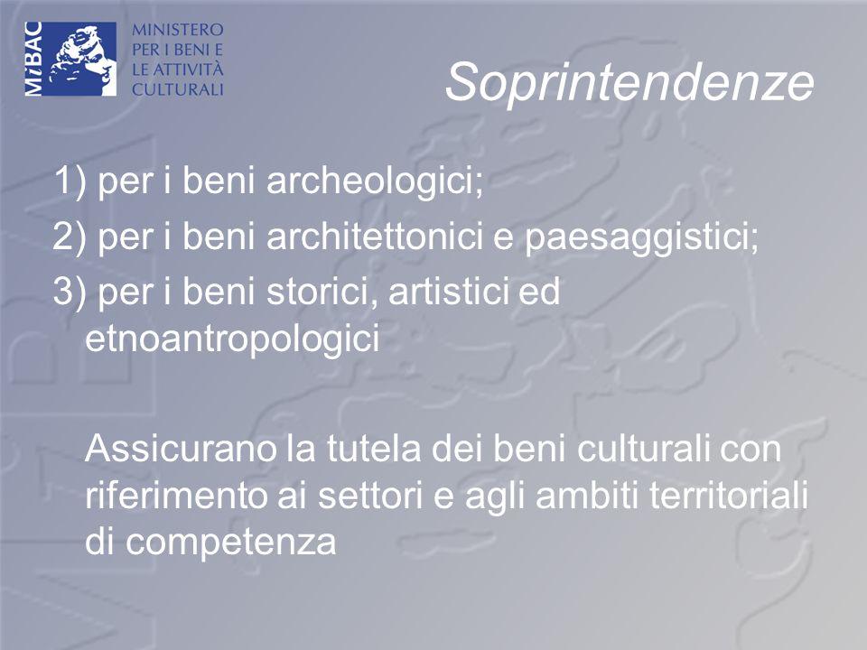 Soprintendenze 1) per i beni archeologici; 2) per i beni architettonici e paesaggistici; 3) per i beni storici, artistici ed etnoantropologici Assicur