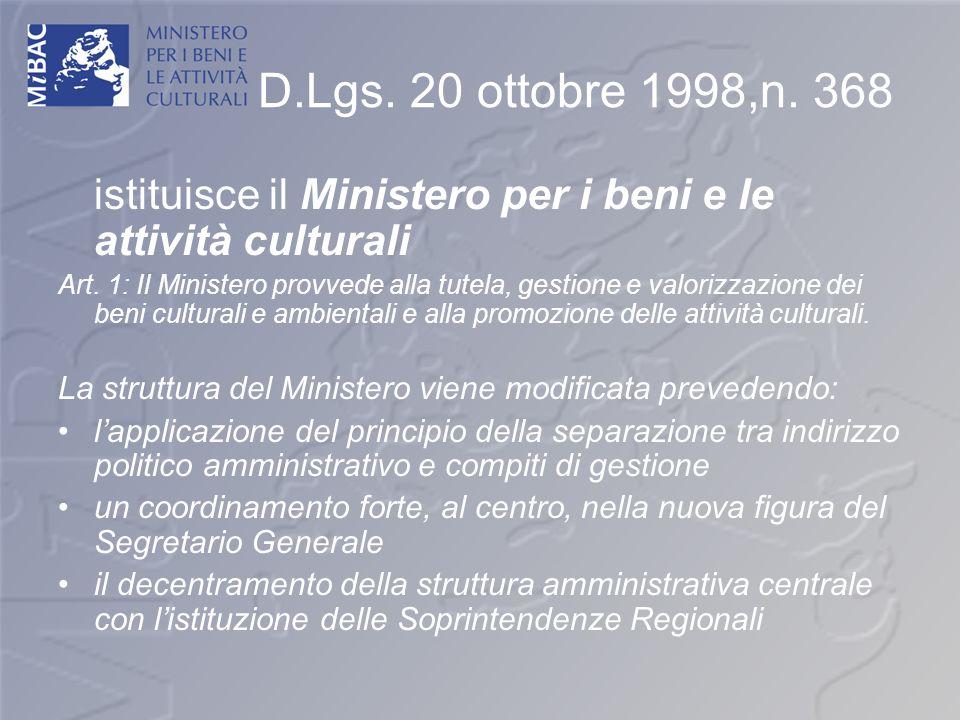 D.Lgs. 20 ottobre 1998,n. 368 istituisce il Ministero per i beni e le attività culturali Art. 1: Il Ministero provvede alla tutela, gestione e valoriz
