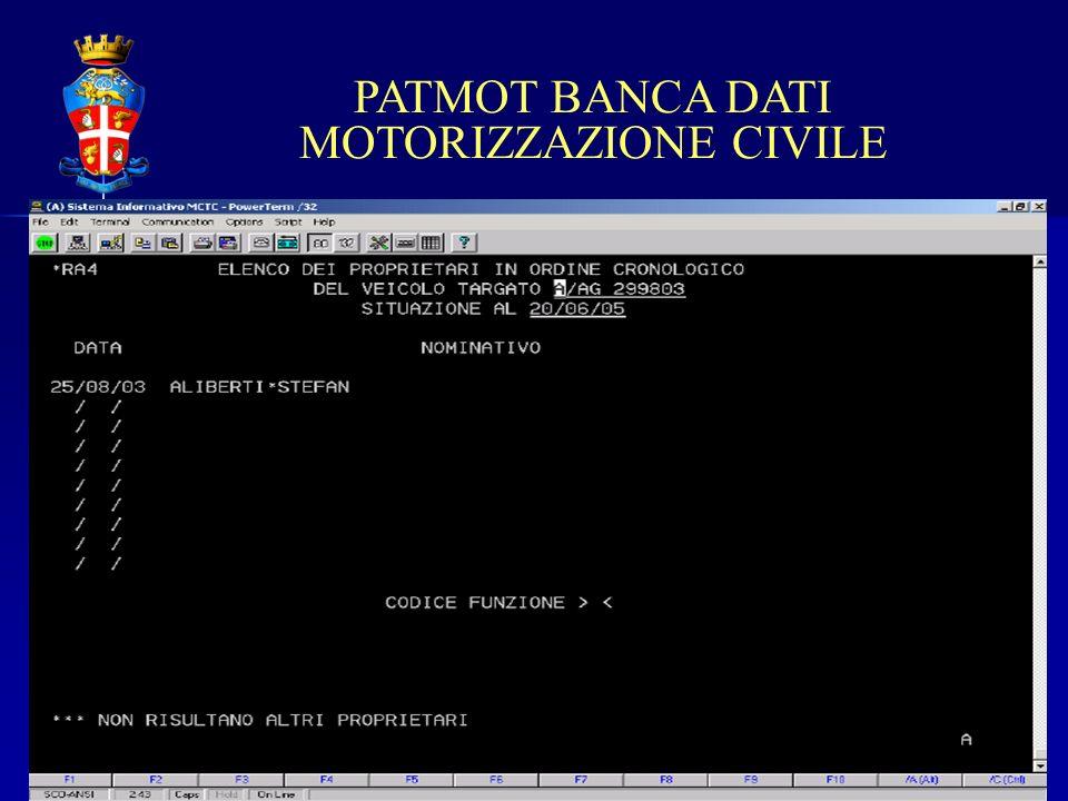 PATMOT BANCA DATI MOTORIZZAZIONE CIVILE
