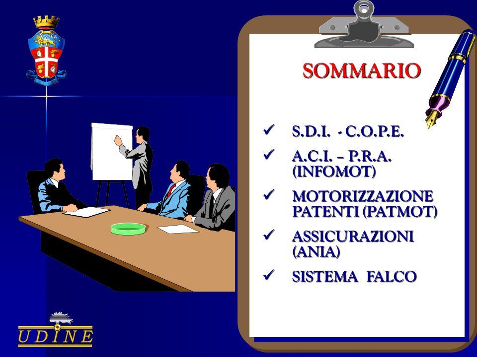 SOMMARIO S.D.I. - C.O.P.E. S.D.I. - C.O.P.E. A.C.I. – P.R.A. (INFOMOT) A.C.I. – P.R.A. (INFOMOT) MOTORIZZAZIONE PATENTI (PATMOT) MOTORIZZAZIONE PATENT
