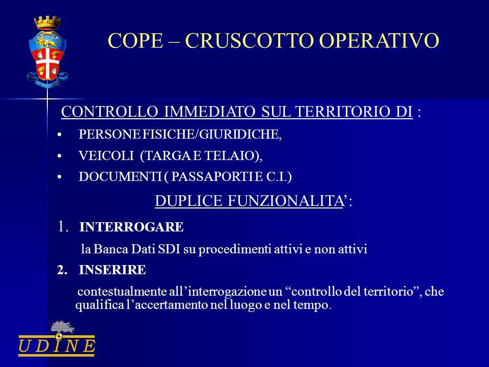 COPE – CRUSCOTTO OPERATIVO CONTROLLO IMMEDIATO SUL TERRITORIO DI : PERSONE FISICHE/GIURIDICHE, VEICOLI (TARGA E TELAIO), DOCUMENTI ( PASSAPORTI E C.I.