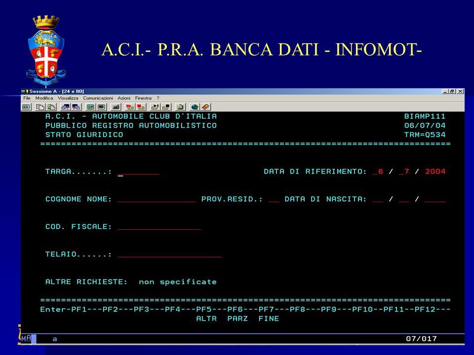 A.C.I.- P.R.A. BANCA DATI - INFOMOT-