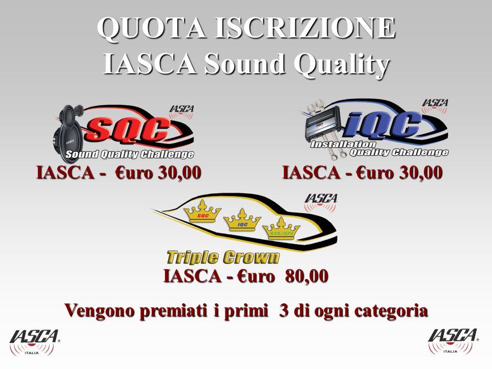 QUOTA ISCRIZIONE IASCA Sound Quality IASCA - uro 30,00IASCA - uro 30,00 IASCA - uro 80,00 IASCA - uro 80,00 Vengono premiati i primi 3 di ogni categoria Vengono premiati i primi 3 di ogni categoria