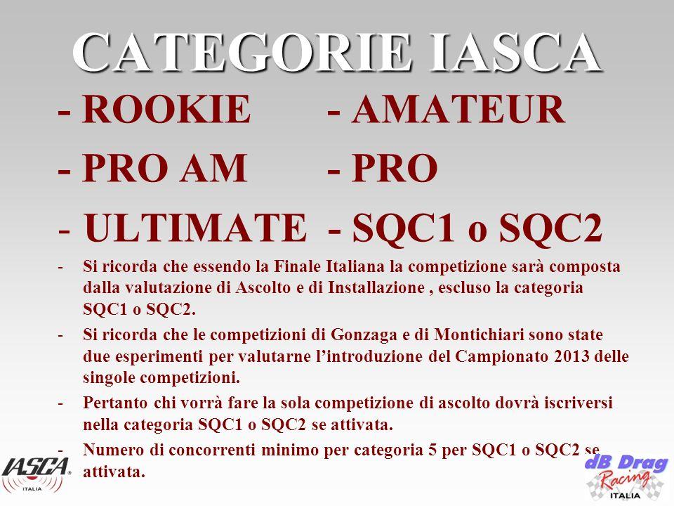 CATEGORIE IASCA - ROOKIE - AMATEUR - PRO AM - PRO -ULTIMATE - SQC1 o SQC2 -Si ricorda che essendo la Finale Italiana la competizione sarà composta dalla valutazione di Ascolto e di Installazione, escluso la categoria SQC1 o SQC2.