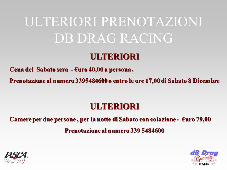 ULTERIORI PRENOTAZIONI DB DRAG RACING ULTERIORI Cena del Sabato sera - uro 40,00 a persona.