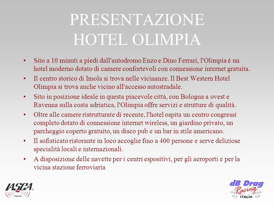 PRESENTAZIONE HOTEL OLIMPIA Sito a 10 minuti a piedi dall autodromo Enzo e Dino Ferrari, l Olimpia è un hotel moderno dotato di camere confortevoli con connessione internet gratuita.