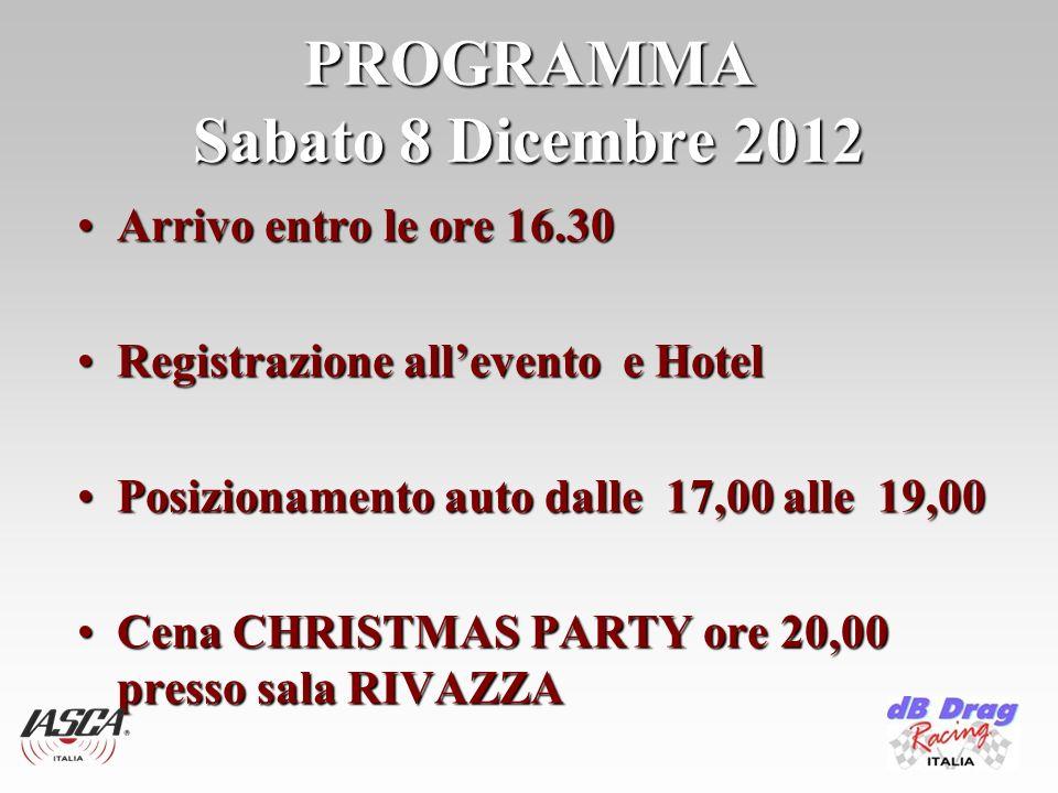 PROGRAMMA Sabato 8 Dicembre 2012 Arrivo entro le ore 16.30Arrivo entro le ore 16.30 Registrazione allevento e HotelRegistrazione allevento e Hotel Pos