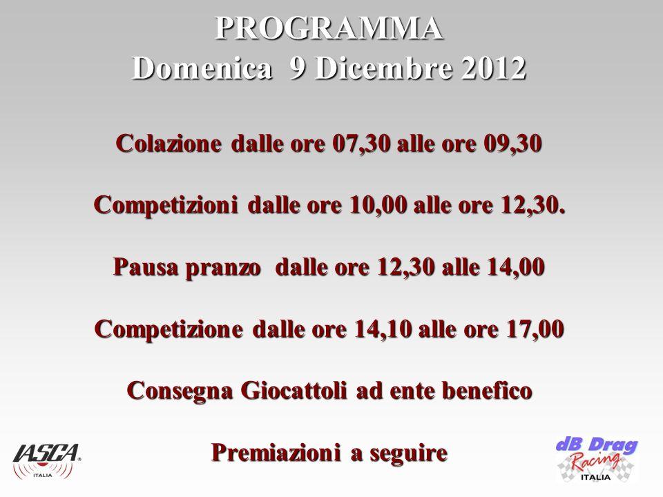 PROGRAMMA Domenica 9 Dicembre 2012 Colazione dalle ore 07,30 alle ore 09,30 Competizioni dalle ore 10,00 alle ore 12,30.