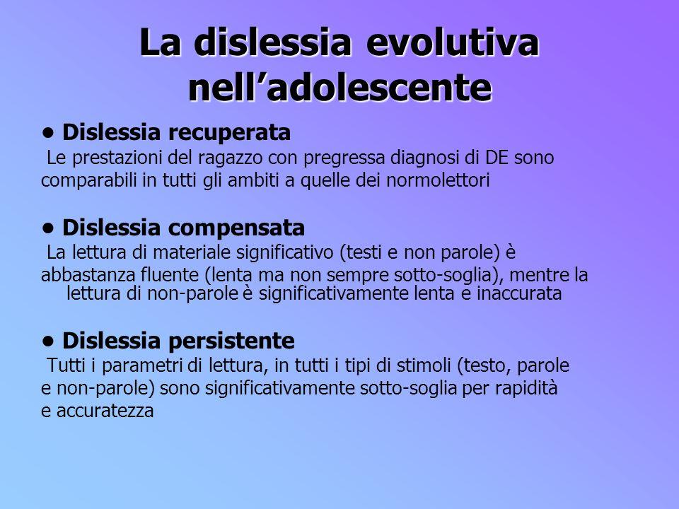 La dislessia evolutiva nelladolescente Dislessia recuperata Le prestazioni del ragazzo con pregressa diagnosi di DE sono comparabili in tutti gli ambi