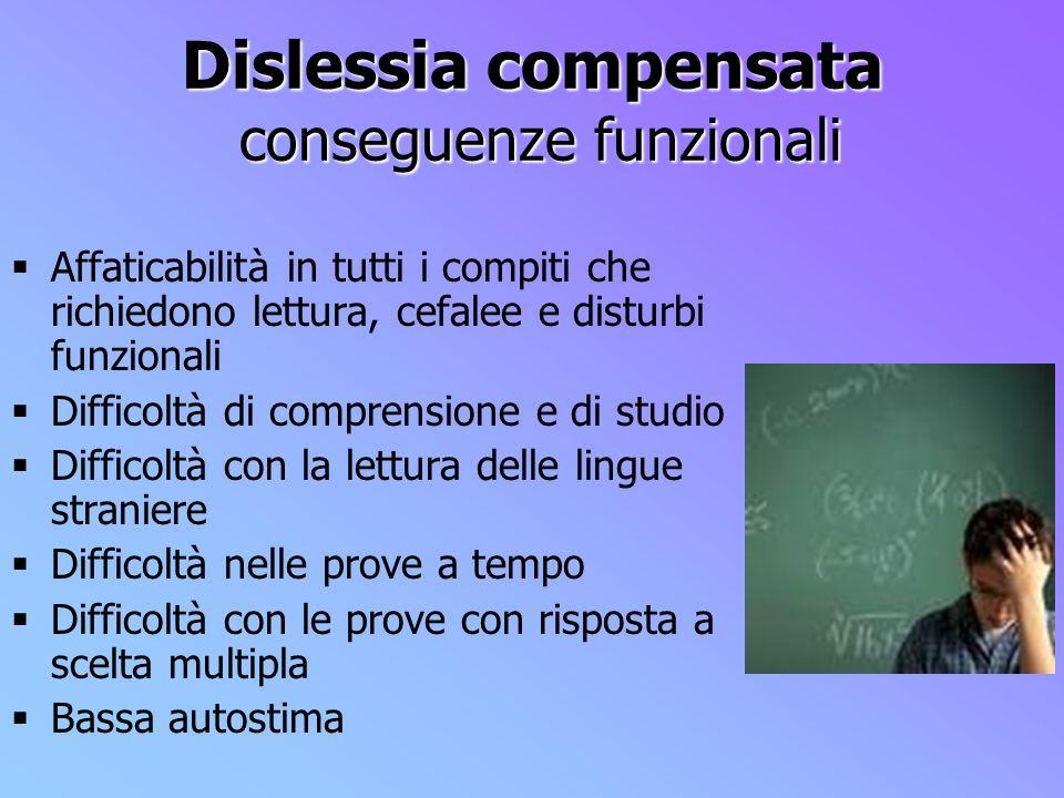 Dislessia compensata conseguenze funzionali Affaticabilità in tutti i compiti che richiedono lettura, cefalee e disturbi funzionali Difficoltà di comp