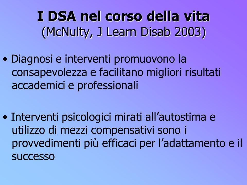 I DSA nel corso della vita (McNulty, J Learn Disab 2003) Diagnosi e interventi promuovono la consapevolezza e facilitano migliori risultati accademici