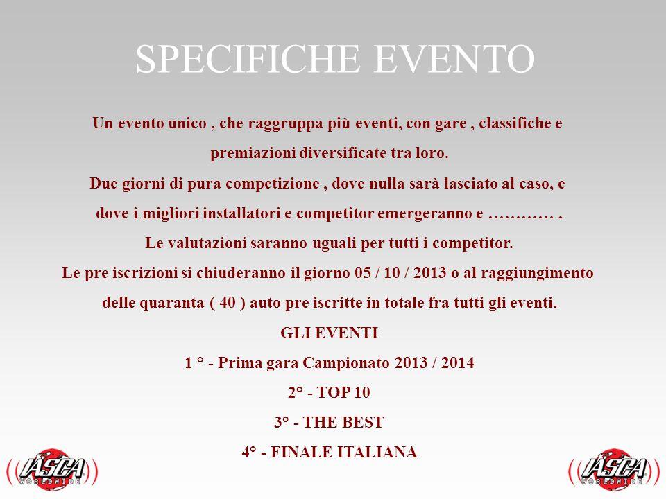 SPECIFICHE EVENTO Un evento unico, che raggruppa più eventi, con gare, classifiche e premiazioni diversificate tra loro. Due giorni di pura competizio