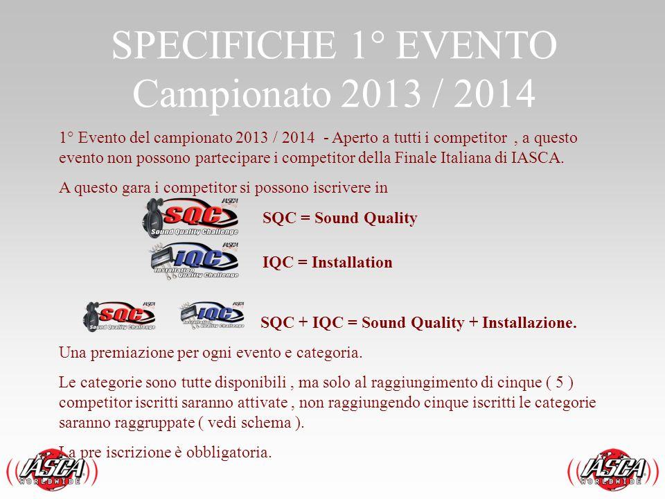 SPECIFICHE 1° EVENTO Campionato 2013 / 2014 1° Evento del campionato 2013 / 2014 - Aperto a tutti i competitor, a questo evento non possono partecipar