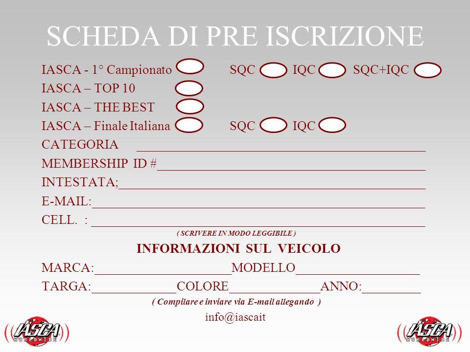 SCHEDA DI PRE ISCRIZIONE IASCA - 1° CampionatoSQC IQC SQC+IQC IASCA – TOP 10 IASCA – THE BEST IASCA – Finale ItalianaSQC IQC CATEGORIA _______________