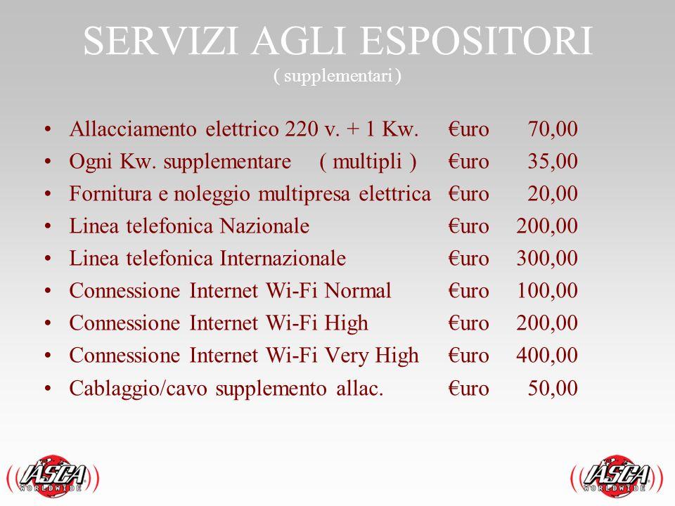 SERVIZI AGLI ESPOSITORI ( supplementari ) Allacciamento elettrico 220 v. + 1 Kw.uro 70,00 Ogni Kw. supplementare ( multipli )uro 35,00 Fornitura e nol