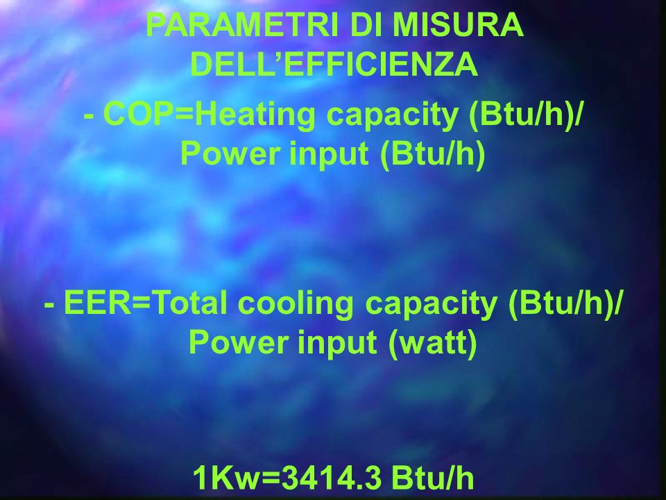 PARAMETRI DI MISURA DELLEFFICIENZA - COP=Heating capacity (Btu/h)/ Power input (Btu/h) - EER=Total cooling capacity (Btu/h)/ Power input (watt) 1Kw=34