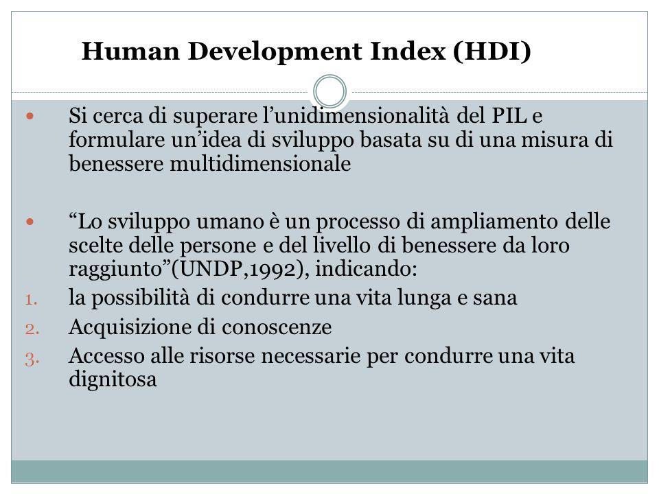 Human Development Index (HDI) Si cerca di superare lunidimensionalità del PIL e formulare unidea di sviluppo basata su di una misura di benessere mult