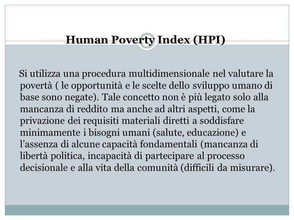 Human Poverty Index (HPI) Si utilizza una procedura multidimensionale nel valutare la povertà ( le opportunità e le scelte dello sviluppo umano di bas