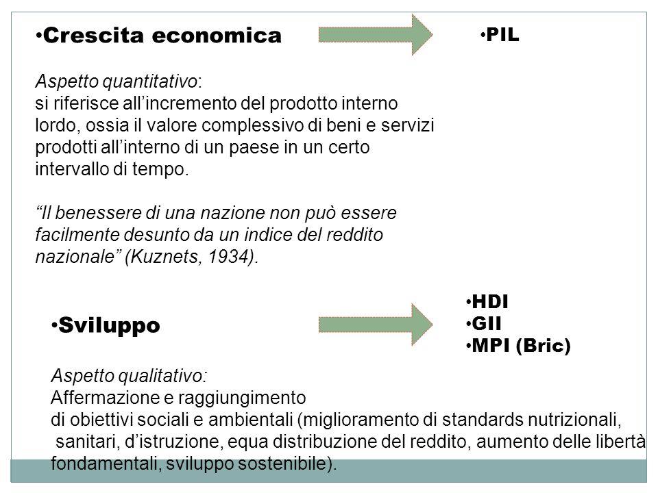 Crescita economica Aspetto quantitativo: si riferisce allincremento del prodotto interno lordo, ossia il valore complessivo di beni e servizi prodotti
