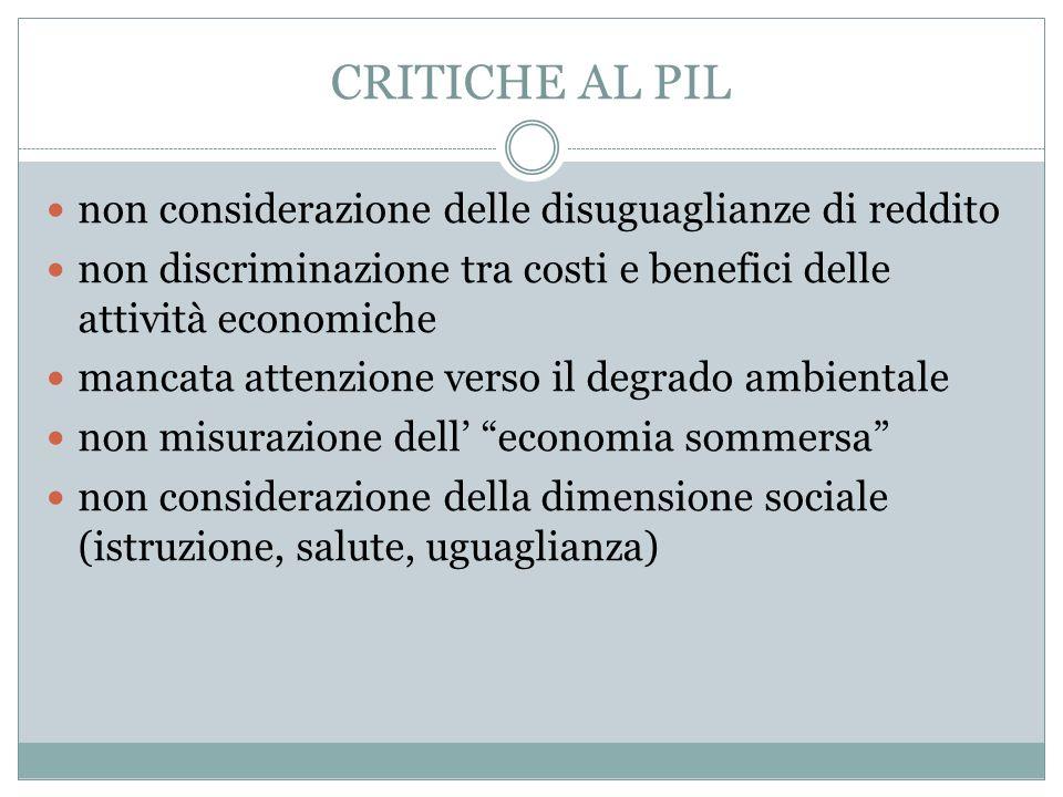 CRITICHE AL PIL non considerazione delle disuguaglianze di reddito non discriminazione tra costi e benefici delle attività economiche mancata attenzio