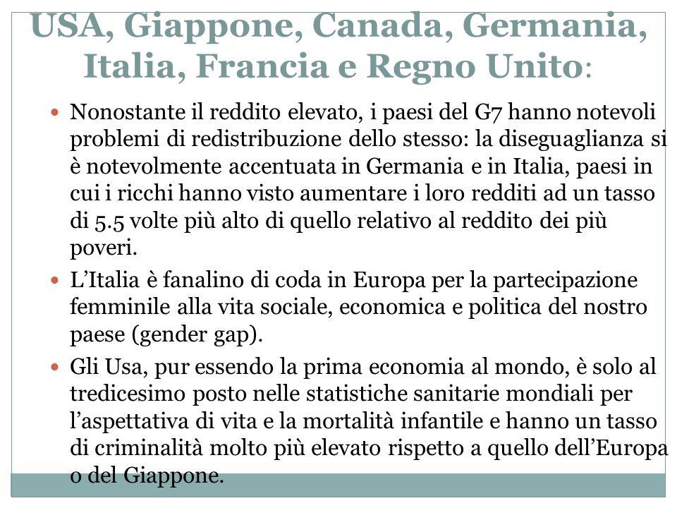 USA, Giappone, Canada, Germania, Italia, Francia e Regno Unito : Nonostante il reddito elevato, i paesi del G7 hanno notevoli problemi di redistribuzi