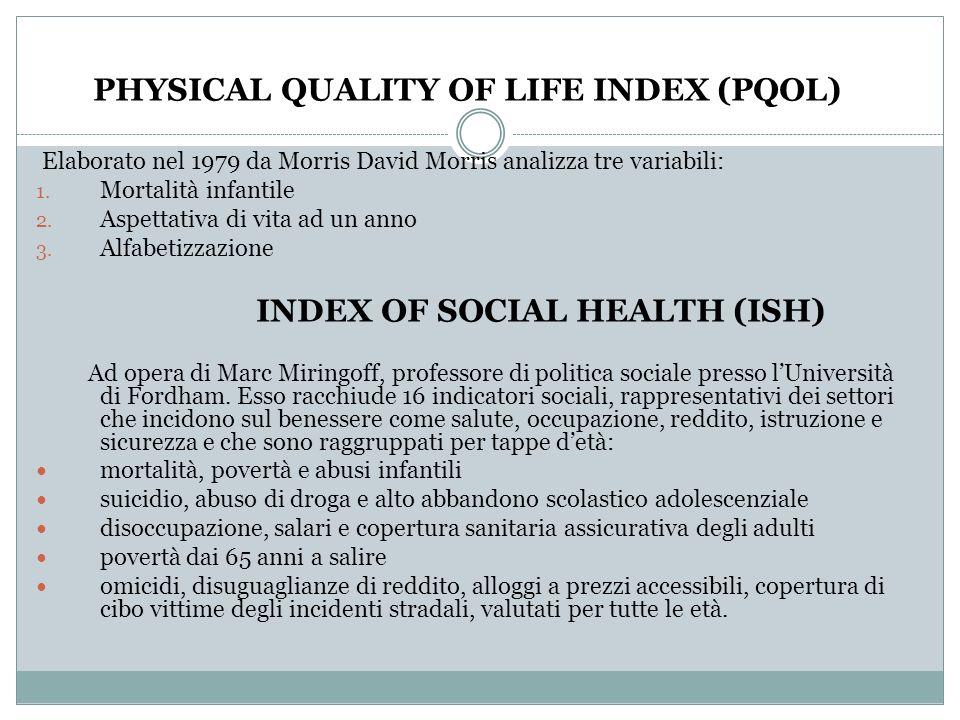 PHYSICAL QUALITY OF LIFE INDEX (PQOL) Elaborato nel 1979 da Morris David Morris analizza tre variabili: 1. Mortalità infantile 2. Aspettativa di vita