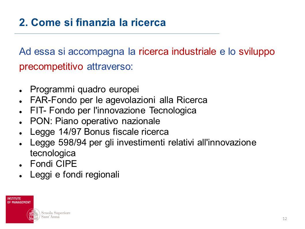 12 2. Come si finanzia la ricerca Ad essa si accompagna la ricerca industriale e lo sviluppo precompetitivo attraverso: Programmi quadro europei FAR-F