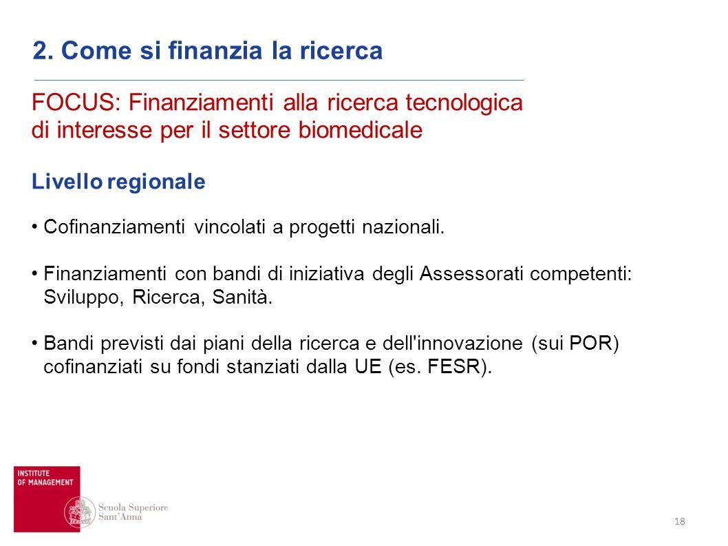 18 2. Come si finanzia la ricerca FOCUS: Finanziamenti alla ricerca tecnologica di interesse per il settore biomedicale Livello regionale Cofinanziame
