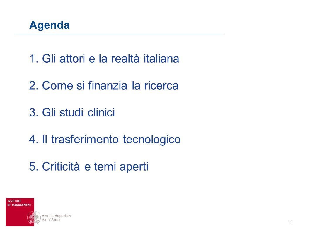 2 Agenda 1. Gli attori e la realtà italiana 2. Come si finanzia la ricerca 3. Gli studi clinici 4. Il trasferimento tecnologico 5. Criticità e temi ap