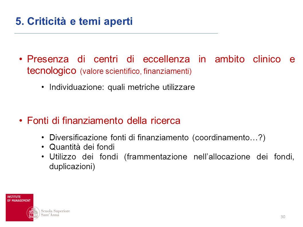 30 5. Criticità e temi aperti Presenza di centri di eccellenza in ambito clinico e tecnologico (valore scientifico, finanziamenti) Individuazione: qua