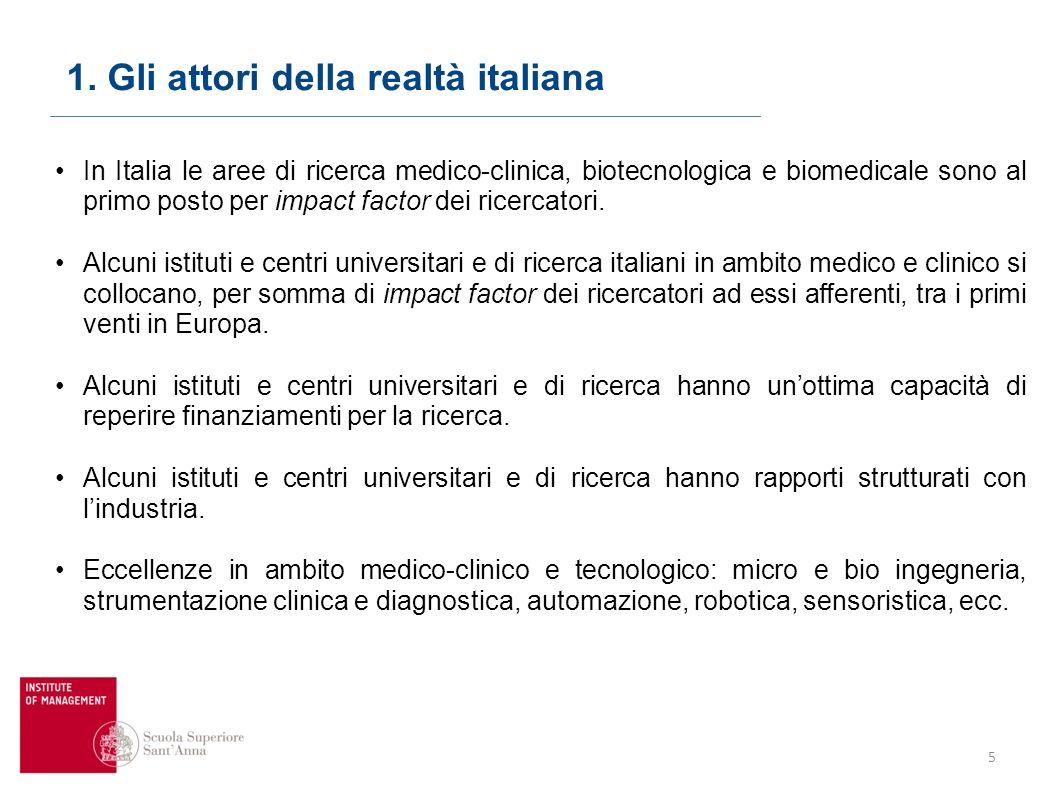 5 In Italia le aree di ricerca medico-clinica, biotecnologica e biomedicale sono al primo posto per impact factor dei ricercatori.