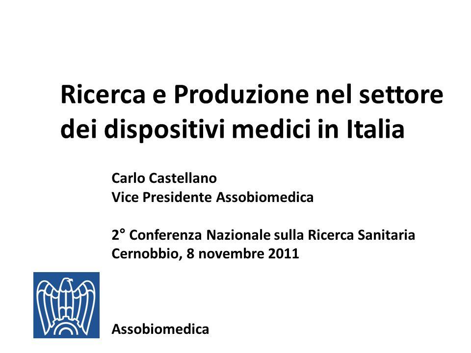 Ricerca e Produzione nel settore dei dispositivi medici in Italia Carlo Castellano Vice Presidente Assobiomedica 2° Conferenza Nazionale sulla Ricerca Sanitaria Cernobbio, 8 novembre 2011 Assobiomedica