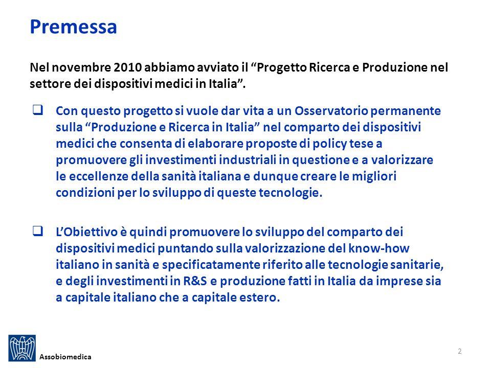 Premessa Nel novembre 2010 abbiamo avviato il Progetto Ricerca e Produzione nel settore dei dispositivi medici in Italia.