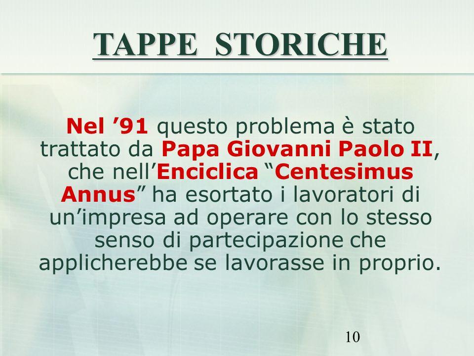 10 Nel 91 questo problema è stato trattato da Papa Giovanni Paolo II, che nellEnciclica Centesimus Annus ha esortato i lavoratori di unimpresa ad oper