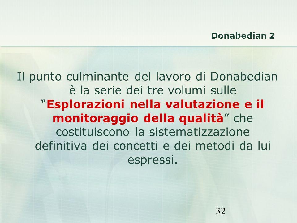 32 Il punto culminante del lavoro di Donabedian è la serie dei tre volumi sulleEsplorazioni nella valutazione e il monitoraggio della qualità che cost