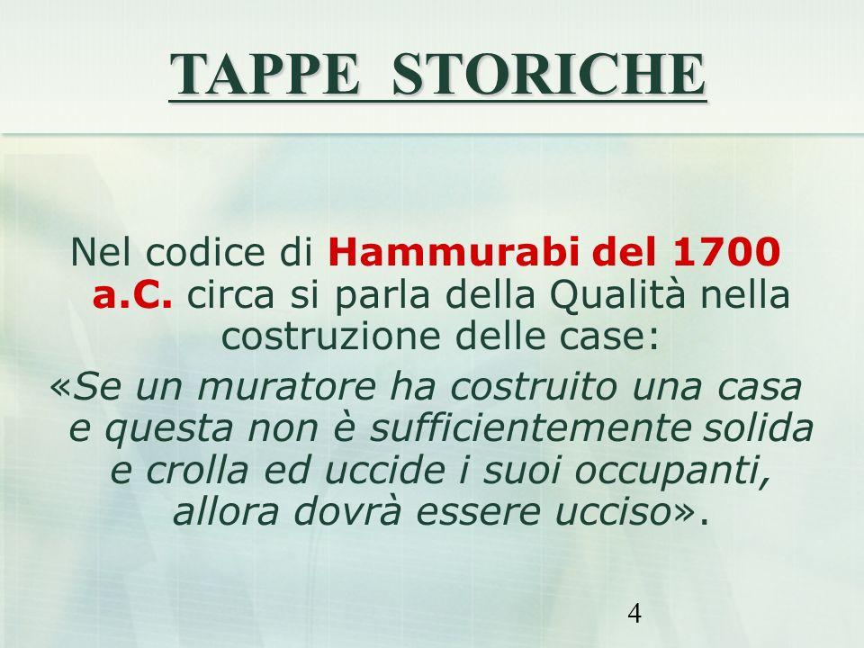 4 Nel codice di Hammurabi del 1700 a.C. circa si parla della Qualità nella costruzione delle case: «Se un muratore ha costruito una casa e questa non