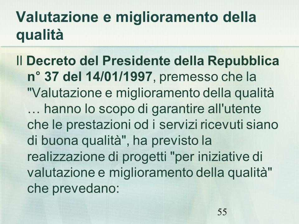 55 Valutazione e miglioramento della qualità Il Decreto del Presidente della Repubblica n° 37 del 14/01/1997, premesso che la