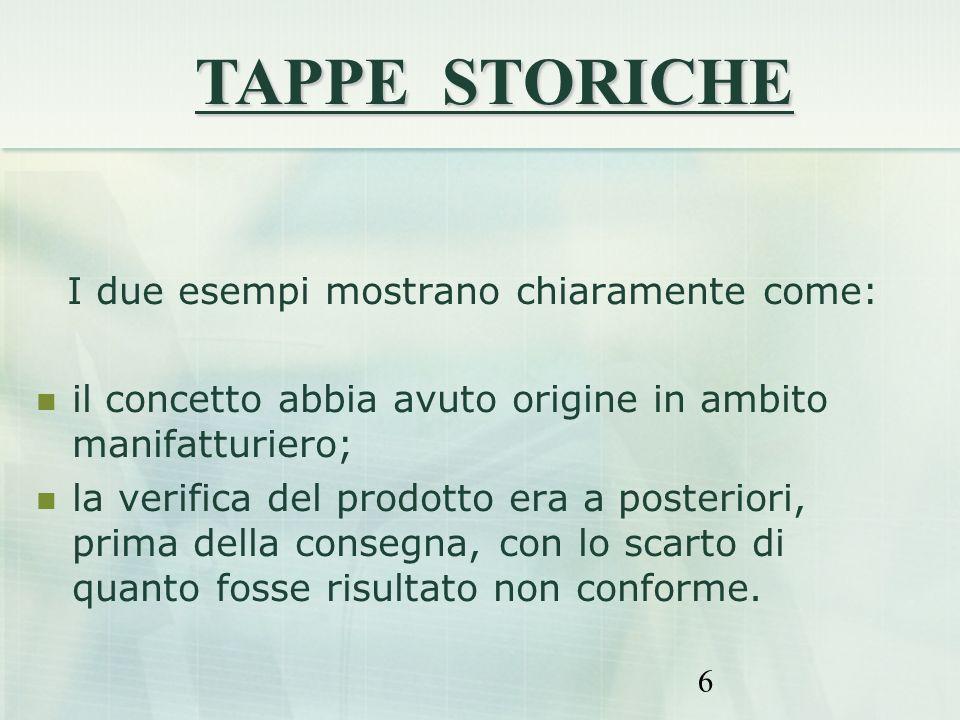 6 I due esempi mostrano chiaramente come: il concetto abbia avuto origine in ambito manifatturiero; la verifica del prodotto era a posteriori, prima d