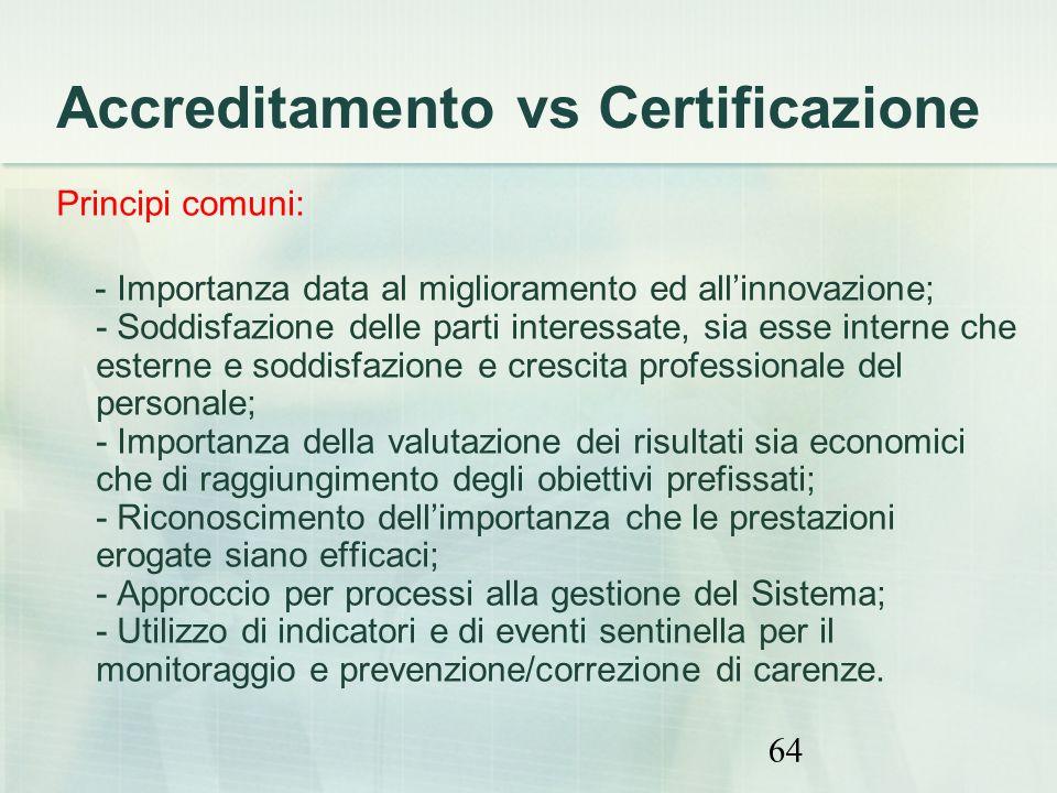 64 Accreditamento vs Certificazione Principi comuni: - Importanza data al miglioramento ed allinnovazione; - Soddisfazione delle parti interessate, si