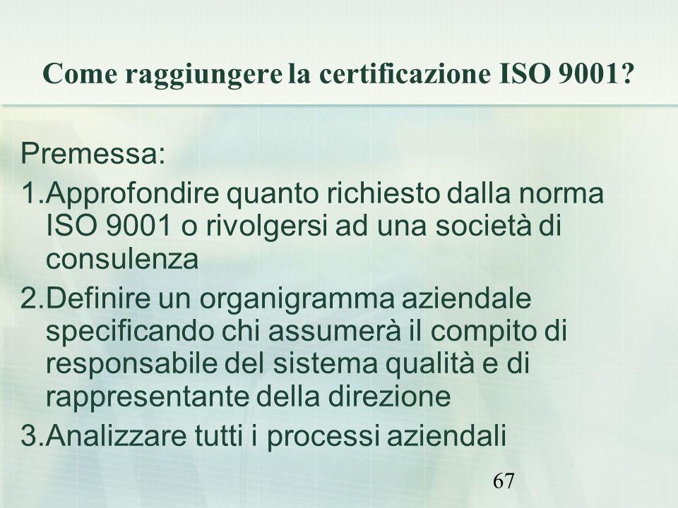 67 Come raggiungere la certificazione ISO 9001? Premessa: 1.Approfondire quanto richiesto dalla norma ISO 9001 o rivolgersi ad una società di consulen