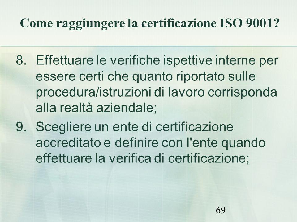 69 8.Effettuare le verifiche ispettive interne per essere certi che quanto riportato sulle procedura/istruzioni di lavoro corrisponda alla realtà azie