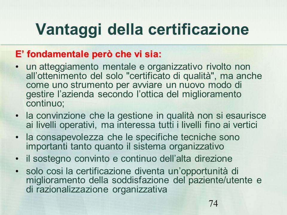 74 Vantaggi della certificazione E fondamentale però che vi sia: un atteggiamento mentale e organizzativo rivolto non allottenimento del solo