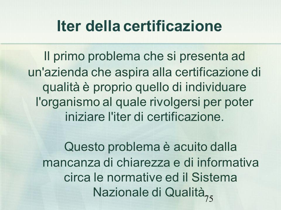 75 Il primo problema che si presenta ad un'azienda che aspira alla certificazione di qualità è proprio quello di individuare l'organismo al quale rivo