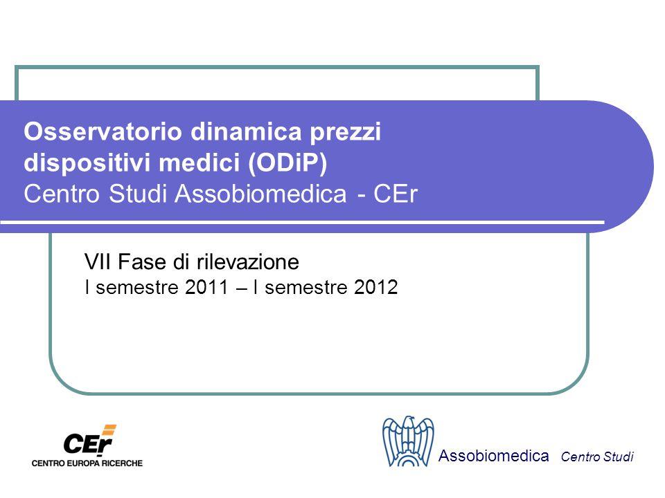 Osservatorio dinamica prezzi dispositivi medici (ODiP) Centro Studi Assobiomedica - CEr VII Fase di rilevazione I semestre 2011 – I semestre 2012 Assobiomedica Centro Studi